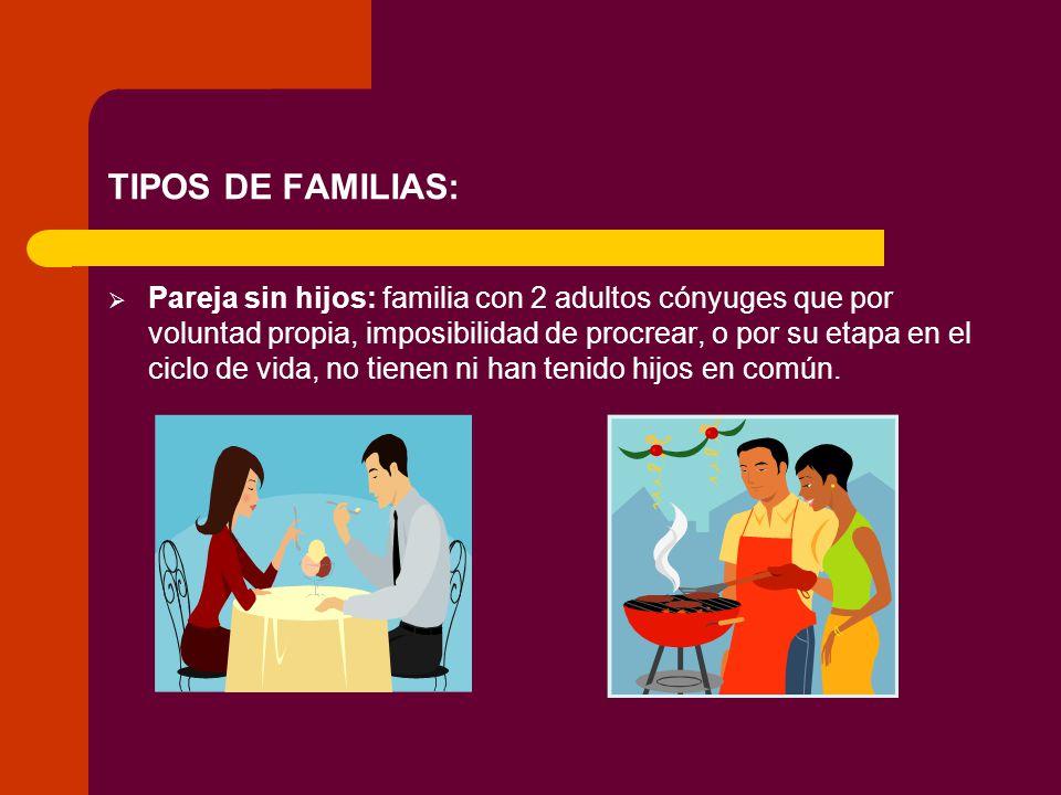 TIPOS DE FAMILIAS: Pareja sin hijos: familia con 2 adultos cónyuges que por voluntad propia, imposibilidad de procrear, o por su etapa en el ciclo de