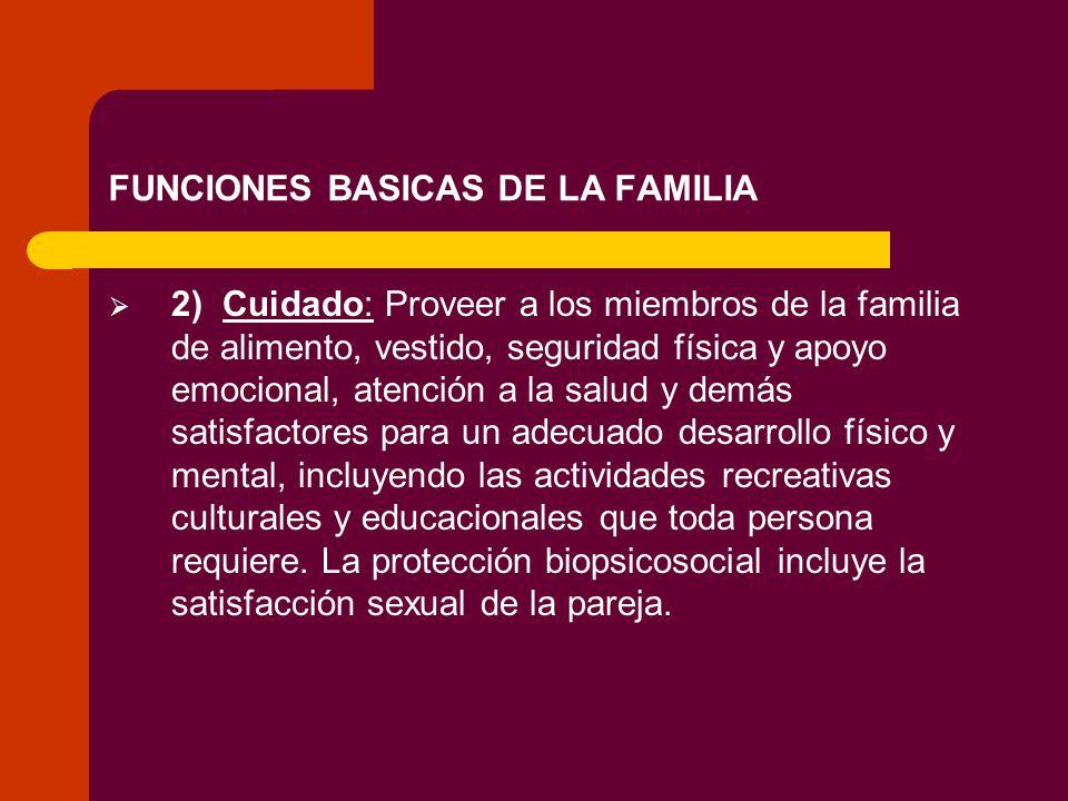 FUNCIONES BASICAS DE LA FAMILIA 2) Cuidado: Proveer a los miembros de la familia de alimento, vestido, seguridad física y apoyo emocional, atención a