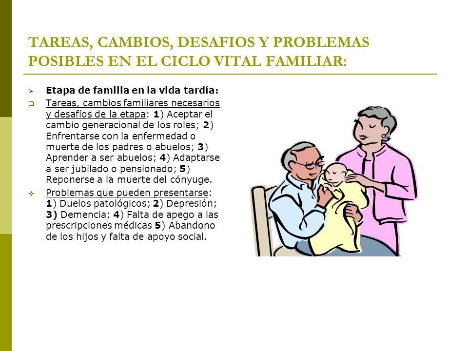 TAREAS, CAMBIOS, DESAFIOS Y PROBLEMAS POSIBLES EN EL CICLO VITAL FAMILIAR: Etapa de familia en la vida tardía: Tareas, cambios familiares necesarios y