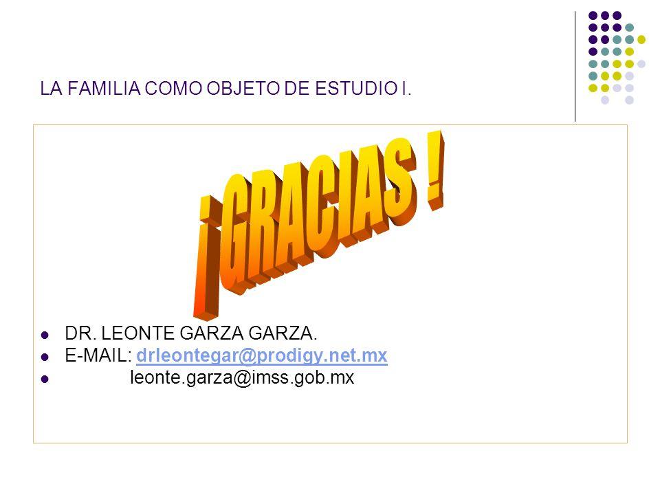 LA FAMILIA COMO OBJETO DE ESTUDIO I. DR. LEONTE GARZA GARZA. E-MAIL: drleontegar@prodigy.net.mxdrleontegar@prodigy.net.mx leonte.garza@imss.gob.mx