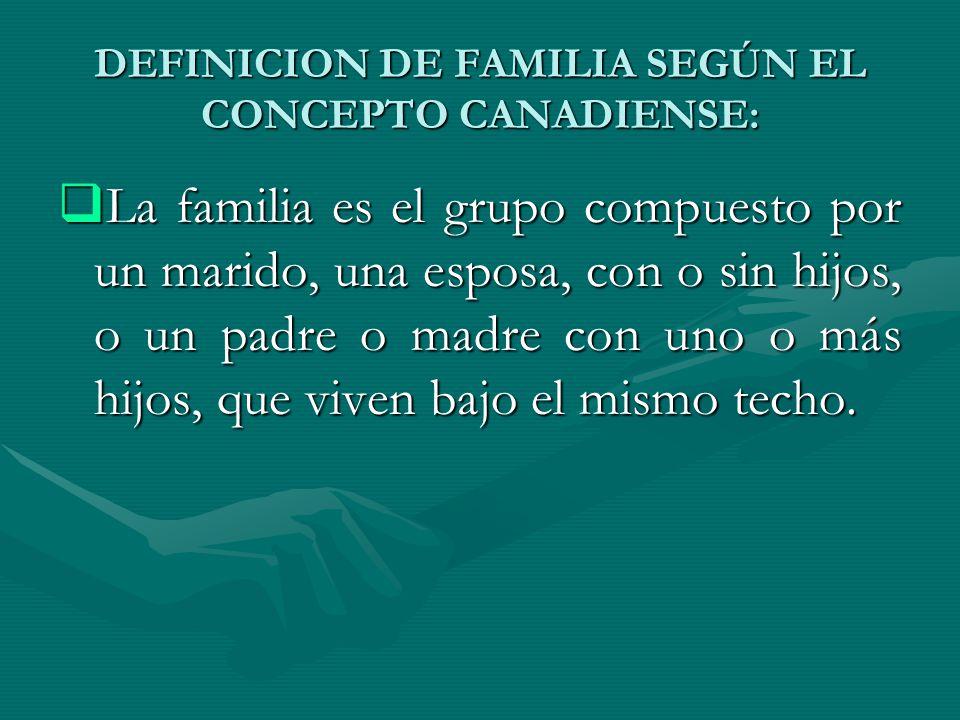 DEFINICION DE FAMILIA SEGÚN EL CONCEPTO CANADIENSE: La familia es el grupo compuesto por un marido, una esposa, con o sin hijos, o un padre o madre co