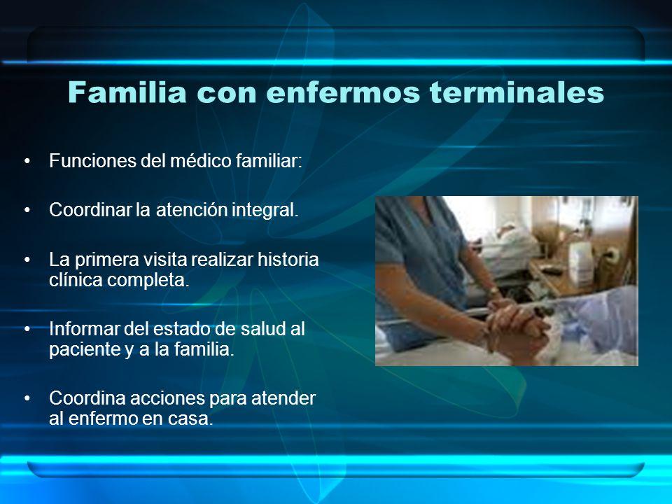 Familia con enfermos terminales Funciones del médico familiar: Coordinar la atención integral.