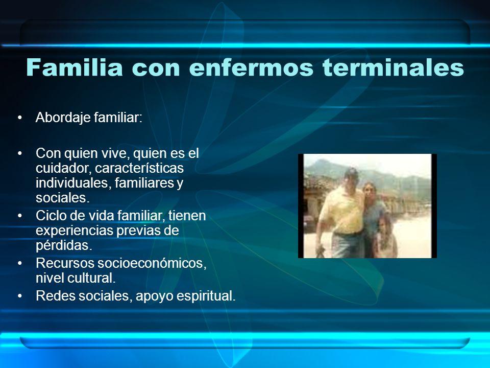 Familia con enfermos terminales Abordaje familiar: Con quien vive, quien es el cuidador, características individuales, familiares y sociales.