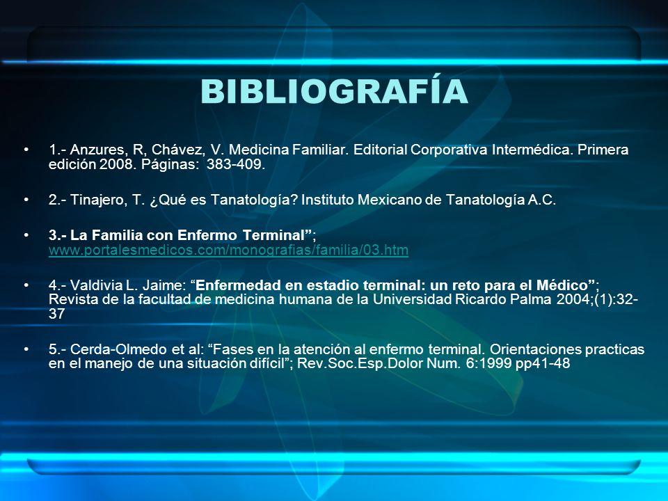 BIBLIOGRAFÍA 1.- Anzures, R, Chávez, V.Medicina Familiar.