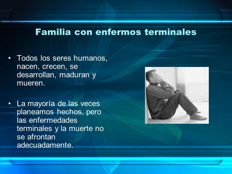 Familia con enfermos terminales Enfermo terminal (OMS): Paciente que muestra una enfermedad avanzada, progresiva e incurable, con las siguientes características: