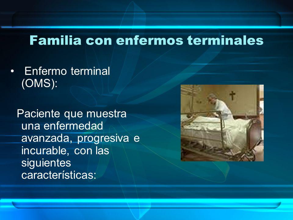 Familia con enfermos terminales Falta de posibilidades razonables de respuesta al tratamiento específico.