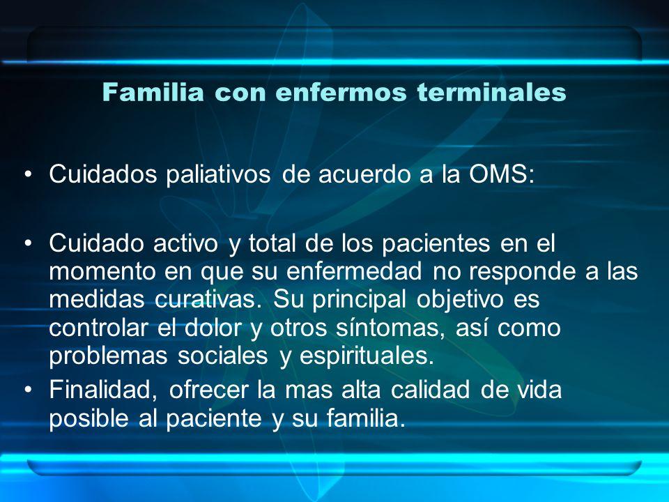 Familia con enfermos terminales Cuidados paliativos de acuerdo a la OMS: Cuidado activo y total de los pacientes en el momento en que su enfermedad no responde a las medidas curativas.
