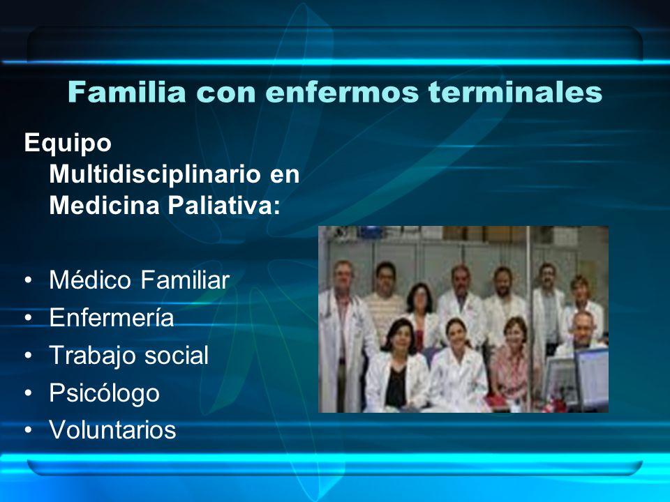 Familia con enfermos terminales Equipo Multidisciplinario en Medicina Paliativa: Médico Familiar Enfermería Trabajo social Psicólogo Voluntarios