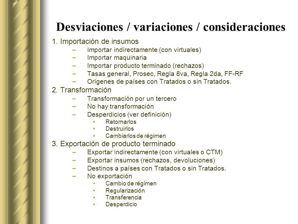 ESQUEMA BASICO Importación de insumos Exportación de PT Transformación Extranjero México IN RT