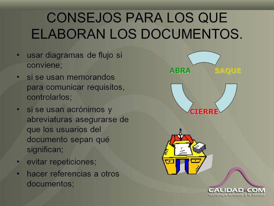 CONSEJOS PARA LOS QUE ELABORAN LOS DOCUMENTOS. incluir formularios simples, tales como: –listas de verificación con los pasos a seguir; –incluir ilust