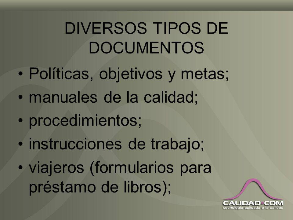 DIVERSOS TIPOS DE DOCUMENTOS Políticas, objetivos y metas; manuales de la calidad; procedimientos; instrucciones de trabajo; viajeros (formularios para préstamo de libros);