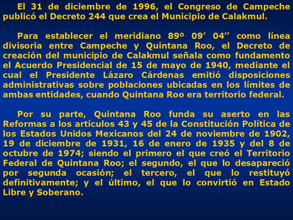 Coordenadas publicadas en la FE DE ERRATAS del Periódico Oficial del Estado de Campeche el 21 de febrero de 1997