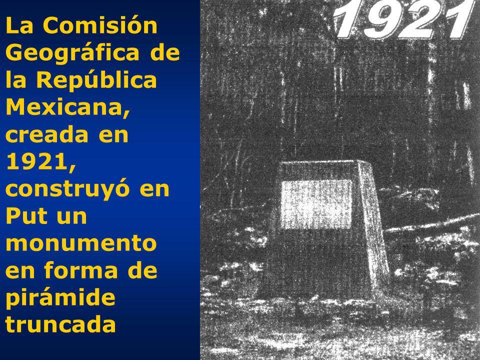 La Comisión Geográfica de la República Mexicana, creada en 1921, construyó en Put un monumento en forma de pirámide truncada