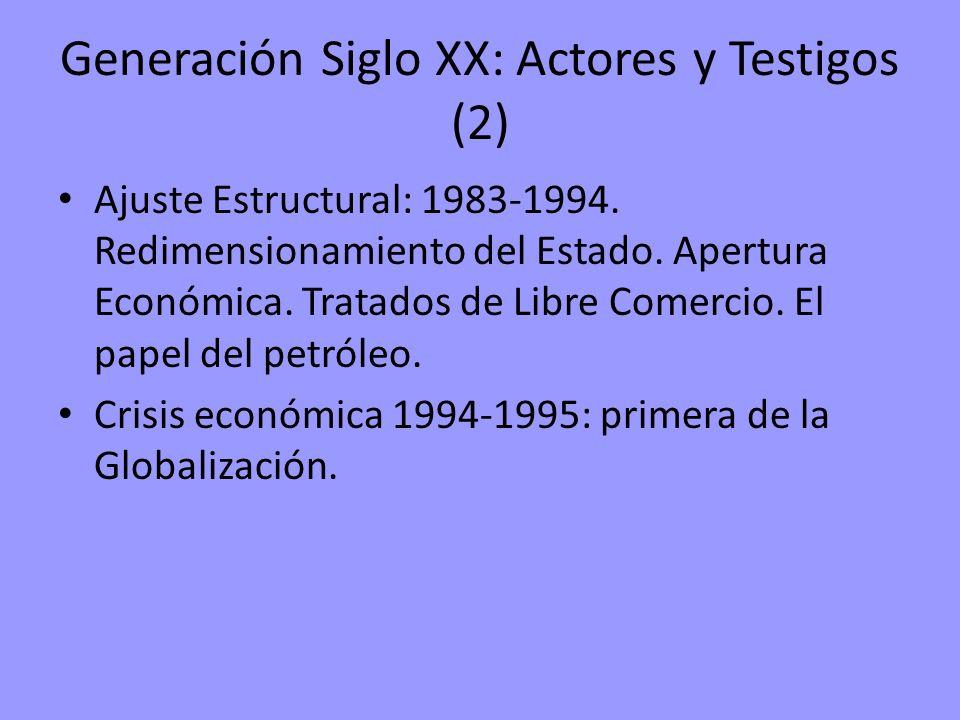 Generación Siglo XX: Actores y Testigos (2) Ajuste Estructural: 1983-1994. Redimensionamiento del Estado. Apertura Económica. Tratados de Libre Comerc