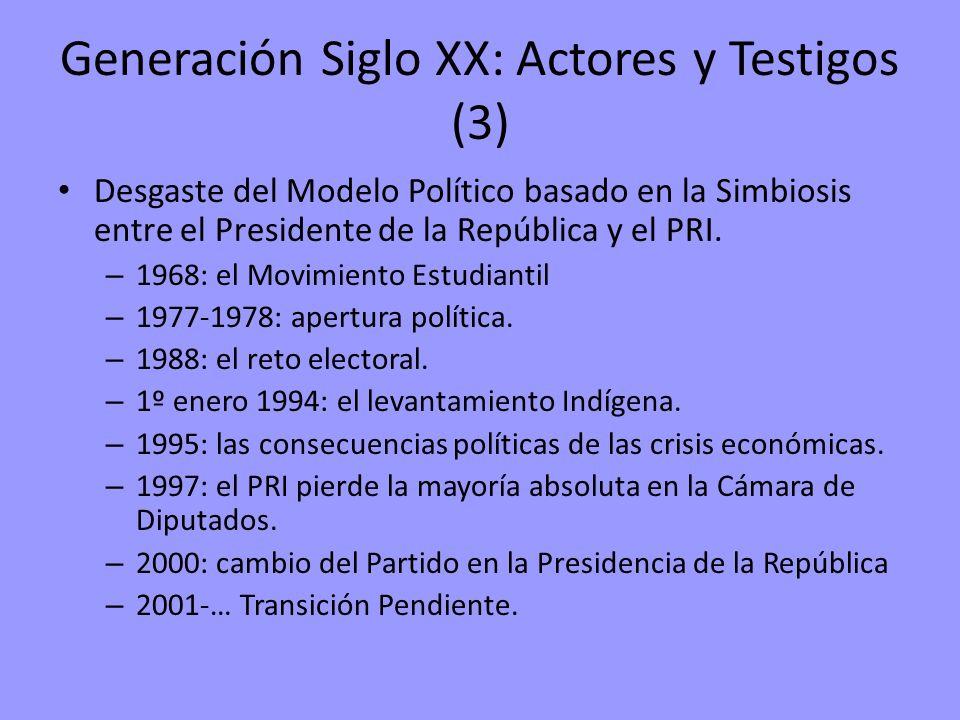 Generación Siglo XX: Actores y Testigos (3) Desgaste del Modelo Político basado en la Simbiosis entre el Presidente de la República y el PRI. – 1968: