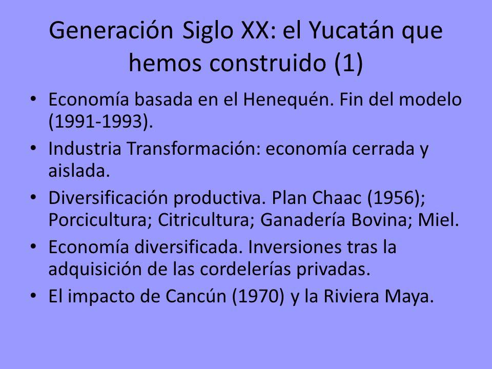 Generación Siglo XX: el Yucatán que hemos construido (1) Economía basada en el Henequén. Fin del modelo (1991-1993). Industria Transformación: economí
