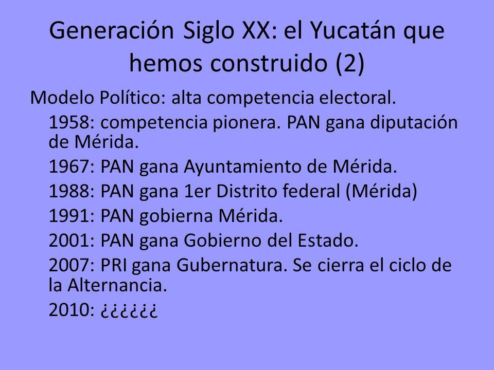 Generación Siglo XX: el Yucatán que hemos construido (2) Modelo Político: alta competencia electoral. 1958: competencia pionera. PAN gana diputación d