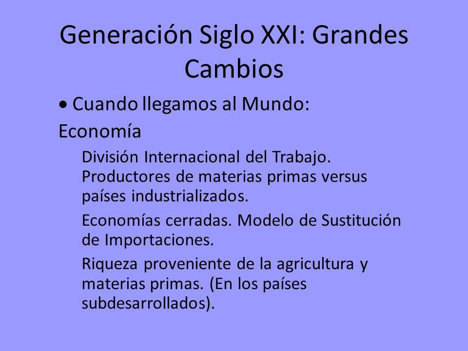 Generación Siglo XXI: Grandes Cambios Cuando llegamos al Mundo: Economía División Internacional del Trabajo. Productores de materias primas versus paí