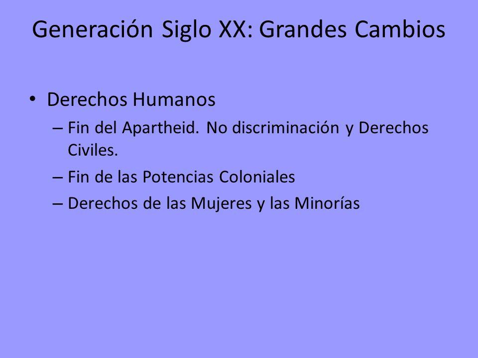 Generación Siglo XX: Grandes Cambios Derechos Humanos – Fin del Apartheid. No discriminación y Derechos Civiles. – Fin de las Potencias Coloniales – D