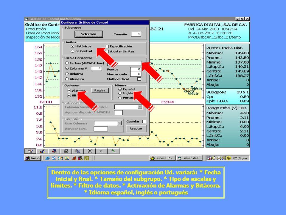 Dentro de las opciones de configuración Ud. variará: * Fecha inicial y final. * Tamaño del subgrupo. * Tipo de escalas y límites. * Filtro de datos. *