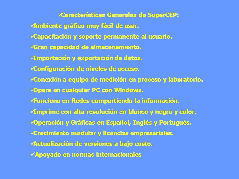 Características Generales de SuperCEP: Ambiente gráfico muy fácil de usar. Capacitación y soporte permanente al usuario. Gran capacidad de almacenamie