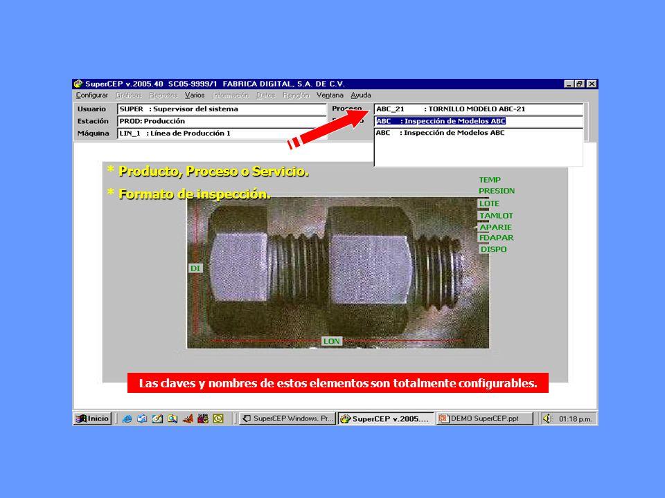 * Producto, Proceso o Servicio. * Formato de inspección.