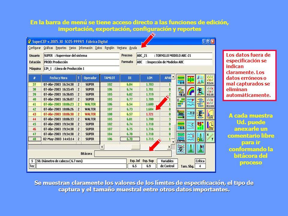 Se muestran claramente los valores de los límites de especificación, el tipo de captura y el tamaño muestral entre otros datos importantes. Los datos