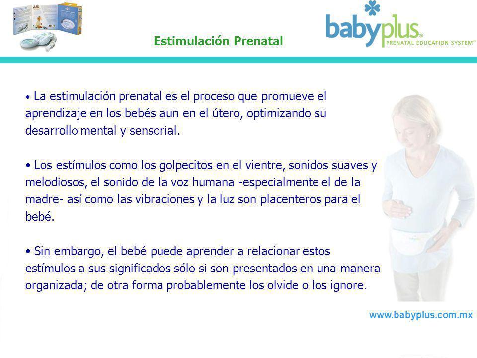 Estimulación Prenatal La estimulación prenatal es el proceso que promueve el aprendizaje en los bebés aun en el útero, optimizando su desarrollo menta