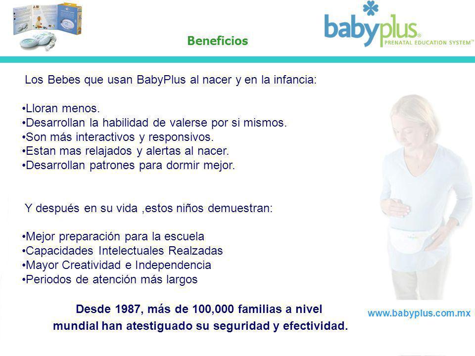 Beneficios Los Bebes que usan BabyPlus al nacer y en la infancia: Lloran menos. Desarrollan la habilidad de valerse por si mismos. Son más interactivo