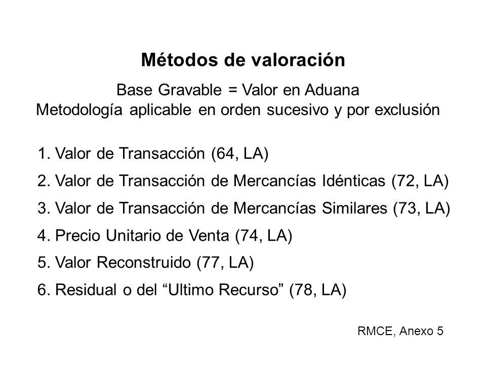 Métodos de valoración Base Gravable = Valor en Aduana Metodología aplicable en orden sucesivo y por exclusión 1.