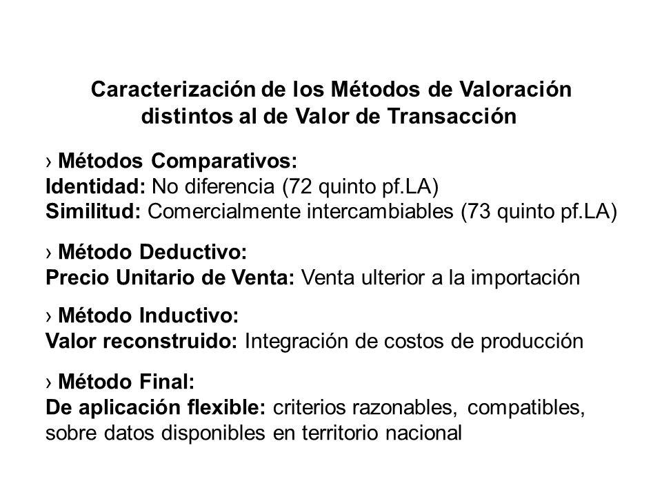 Caracterización de los Métodos de Valoración distintos al de Valor de Transacción Métodos Comparativos: Identidad: No diferencia (72 quinto pf.LA) Similitud: Comercialmente intercambiables (73 quinto pf.LA) Método Deductivo: Precio Unitario de Venta: Venta ulterior a la importación Método Inductivo: Valor reconstruido: Integración de costos de producción Método Final: De aplicación flexible: criterios razonables, compatibles, sobre datos disponibles en territorio nacional
