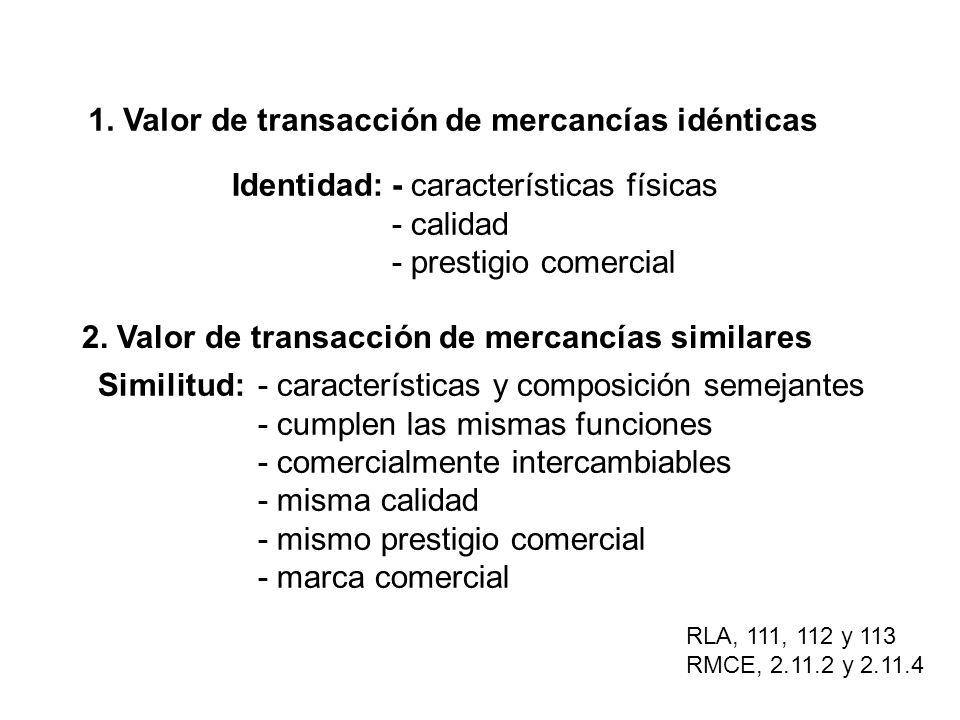 1. Valor de transacción de mercancías idénticas Identidad:- características físicas - calidad - prestigio comercial 2. Valor de transacción de mercanc