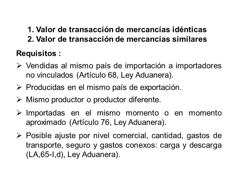 1.Valor de transacción de mercancías idénticas 2.