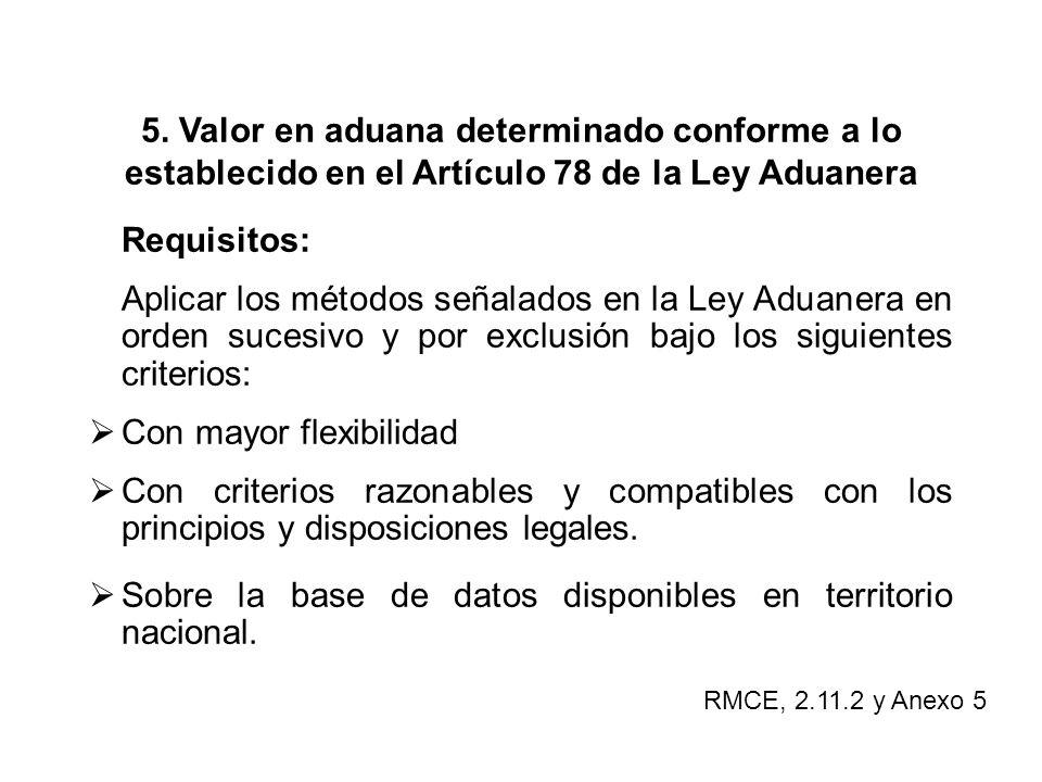 5. Valor en aduana determinado conforme a lo establecido en el Artículo 78 de la Ley Aduanera Requisitos: Aplicar los métodos señalados en la Ley Adua