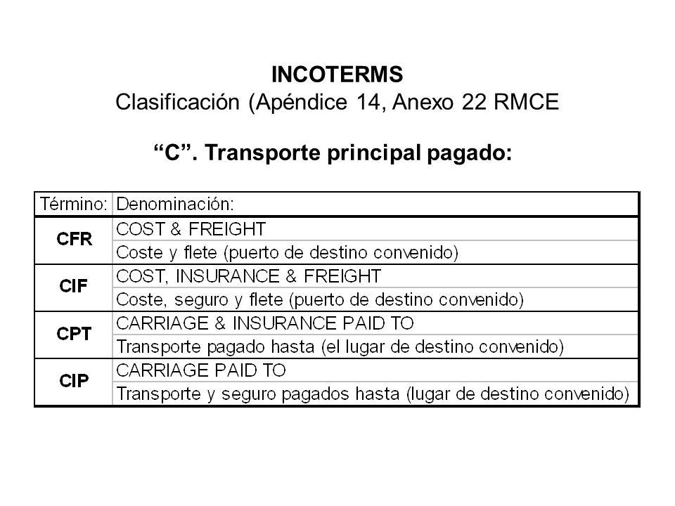 Clasificación (Apéndice 14, Anexo 22 RMCE C. Transporte principal pagado: