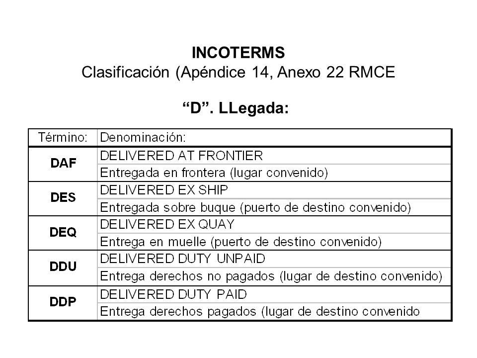 INCOTERMS Clasificación (Apéndice 14, Anexo 22 RMCE D. LLegada: