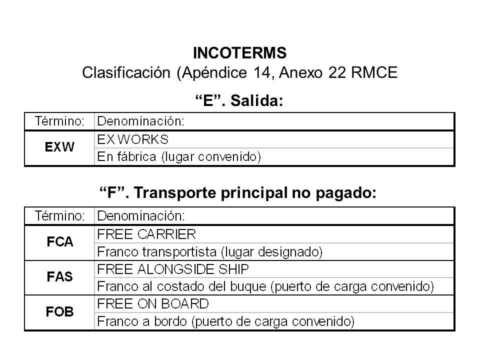 INCOTERMS Clasificación (Apéndice 14, Anexo 22 RMCE E. Salida: F. Transporte principal no pagado: