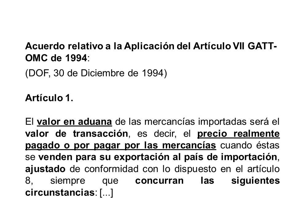 Acuerdo relativo a la Aplicación del Artículo VII GATT- OMC de 1994: (DOF, 30 de Diciembre de 1994) Artículo 1.