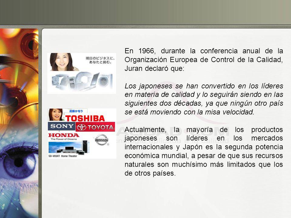 En 1966, durante la conferencia anual de la Organización Europea de Control de la Calidad, Juran declaró que: Los japoneses se han convertido en los l