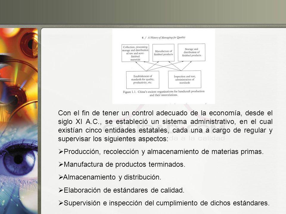 Con el fin de tener un control adecuado de la economía, desde el siglo XI A.C., se estableció un sistema administrativo, en el cual existían cinco ent