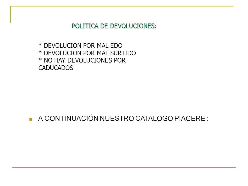 POLITICA DE DEVOLUCIONES: * DEVOLUCION POR MAL EDO * DEVOLUCION POR MAL SURTIDO * NO HAY DEVOLUCIONES POR CADUCADOS A CONTINUACIÓN NUESTRO CATALOGO PI