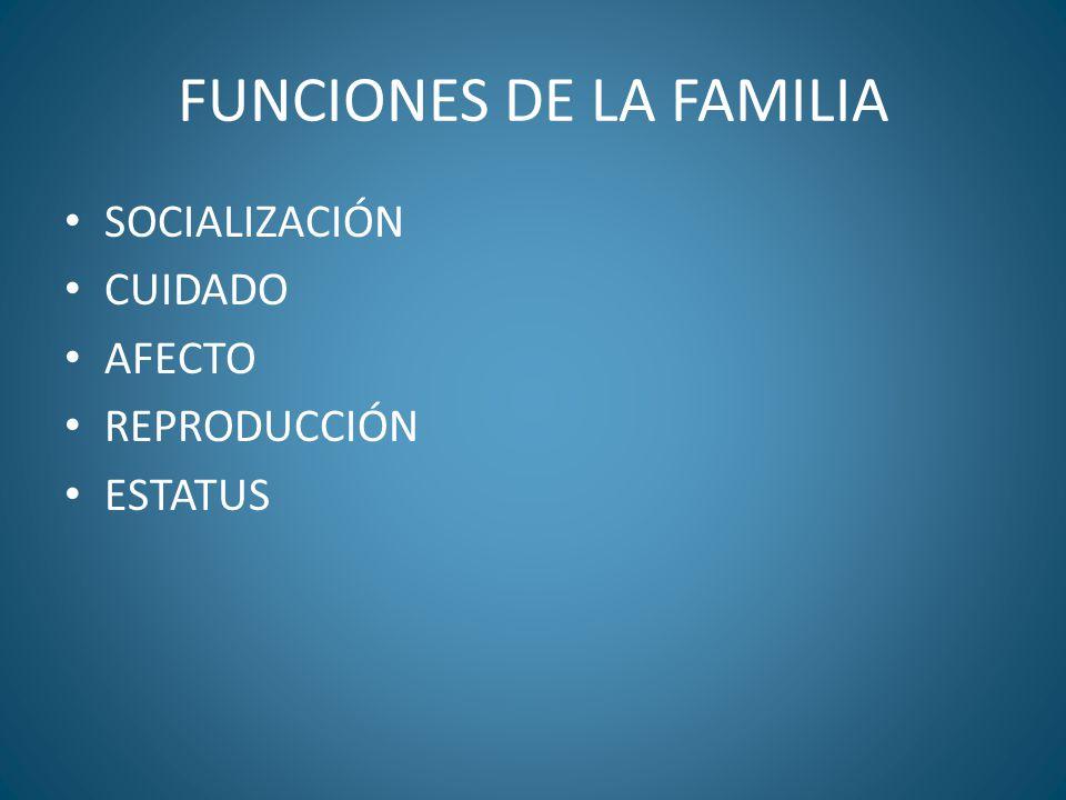 FUNCIONES DE LA FAMILIA SOCIALIZACIÓN CUIDADO AFECTO REPRODUCCIÓN ESTATUS