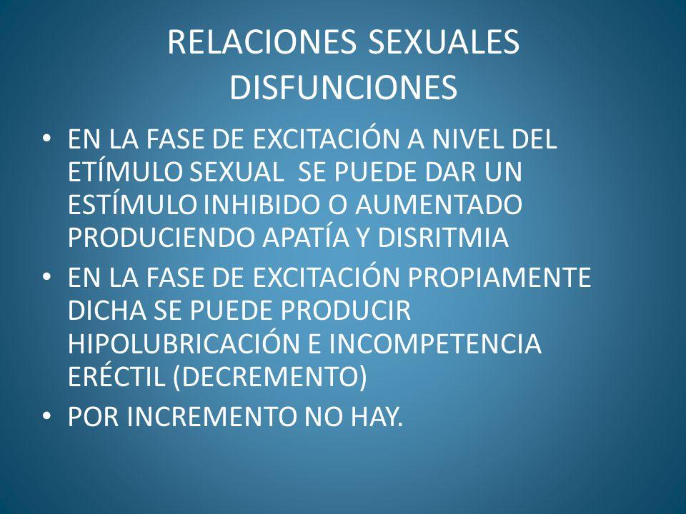 RELACIONES SEXUALES DISFUNCIONES EN LA FASE DE EXCITACIÓN A NIVEL DEL ETÍMULO SEXUAL SE PUEDE DAR UN ESTÍMULO INHIBIDO O AUMENTADO PRODUCIENDO APATÍA