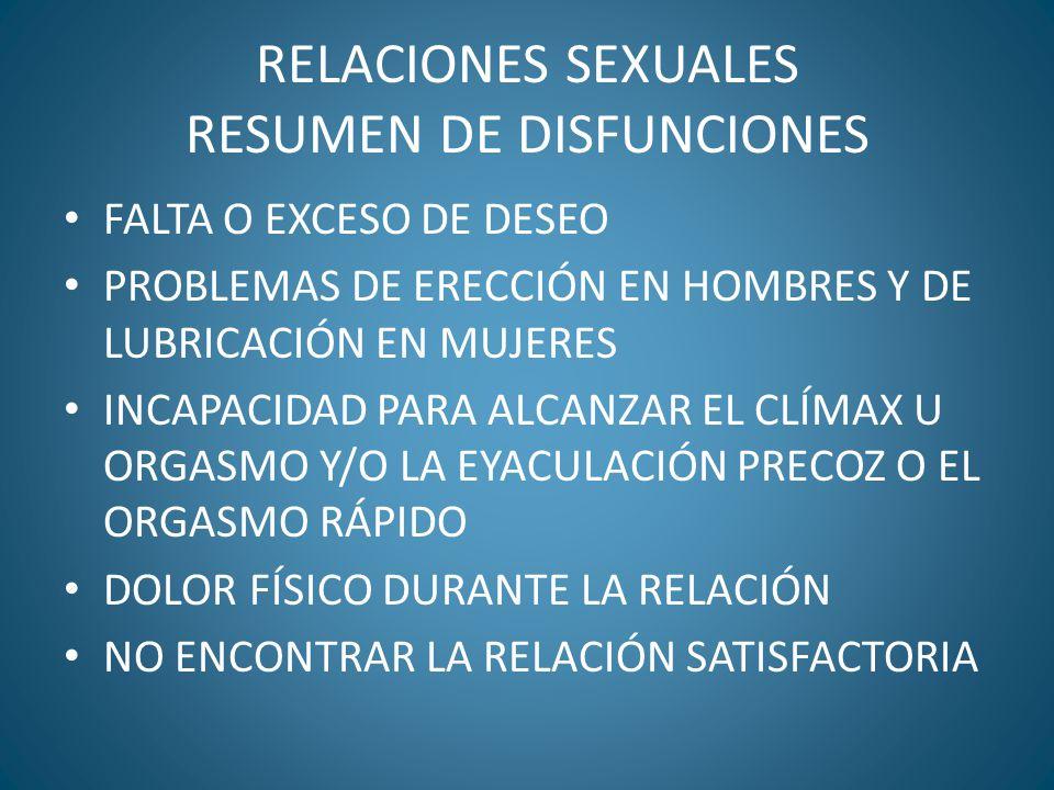 RELACIONES SEXUALES RESUMEN DE DISFUNCIONES FALTA O EXCESO DE DESEO PROBLEMAS DE ERECCIÓN EN HOMBRES Y DE LUBRICACIÓN EN MUJERES INCAPACIDAD PARA ALCA