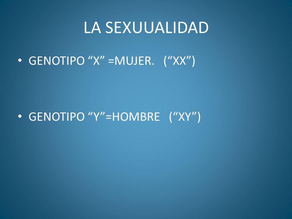 LA SEXUUALIDAD GENOTIPO X =MUJER. (XX) GENOTIPO Y=HOMBRE (XY)