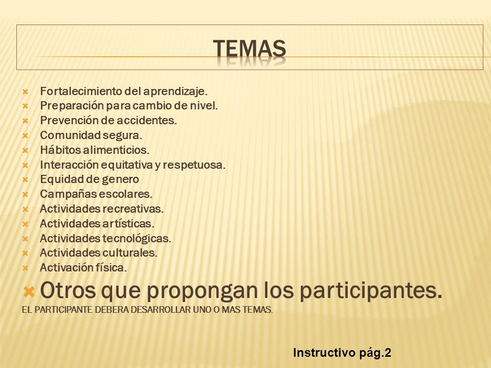 Fortalecimiento del aprendizaje. Preparación para cambio de nivel. Prevención de accidentes. Comunidad segura. Hábitos alimenticios. Interacción equit