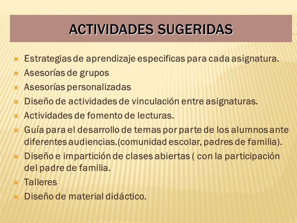 ACTIVIDADES SUGERIDAS Estrategias de aprendizaje especificas para cada asignatura. Asesorías de grupos Asesorías personalizadas Diseño de actividades