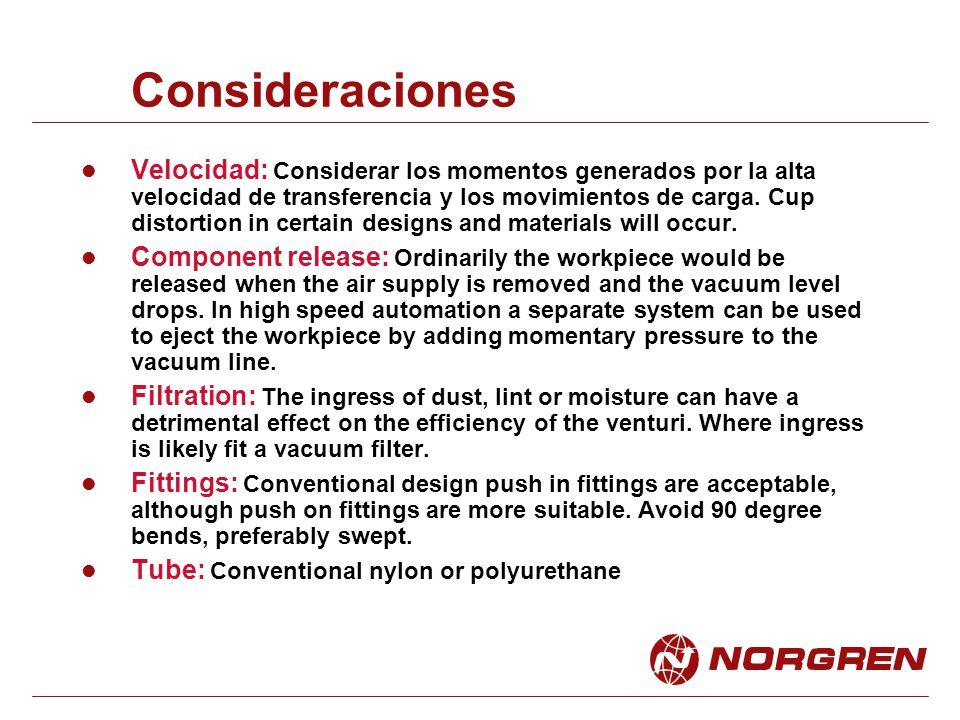 Consideraciones Velocidad: Considerar los momentos generados por la alta velocidad de transferencia y los movimientos de carga. Cup distortion in cert