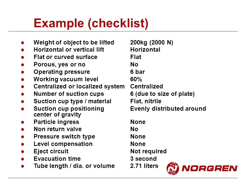 Example (checklist) Weight of object to be lifted200kg (2000 N) Horizontal or vertical liftHorizontal Flat or curved surfaceFlat Porous, yes or noNo Operating pressure6 bar Working vacuum level60% Centralized or localized systemCentralized Number of suction cups6 (due to size of plate) Suction cup type / materialFlat, nitrile Suction cup positioningEvenly distributed around center of gravity Particle ingressNone Non return valveNo Pressure switch typeNone Level compensationNone Eject circuitNot required Evacuation time3 second Tube length / dia.