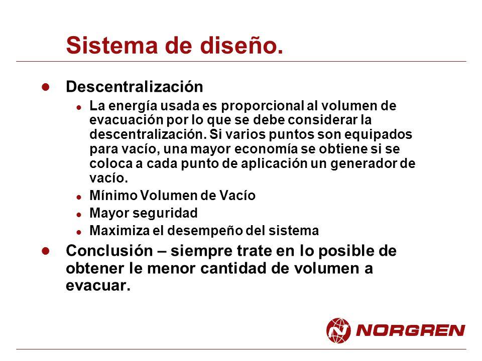Sistema de diseño. Descentralización La energía usada es proporcional al volumen de evacuación por lo que se debe considerar la descentralización. Si
